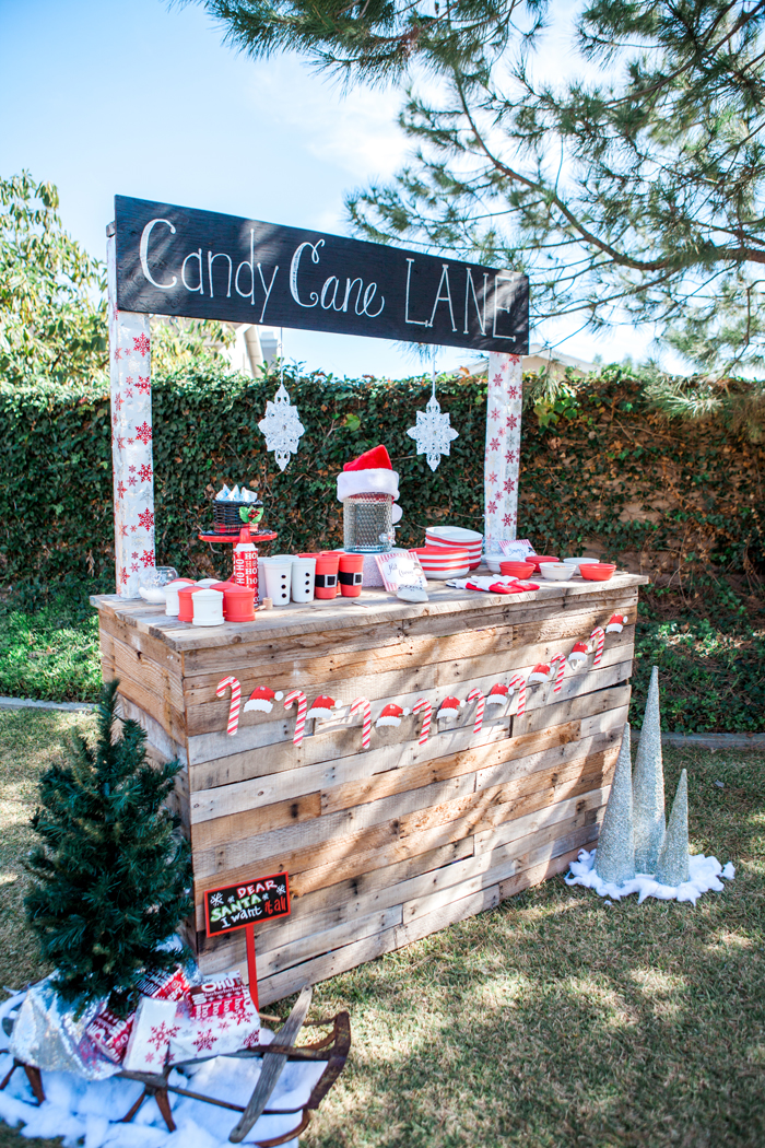 candy cane lane christmas party cocoa bar with tree