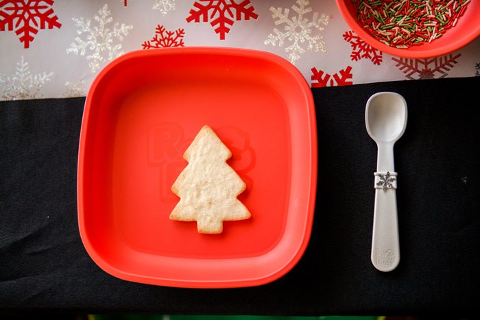 candy cane lane christmas party cookie decorating red plate