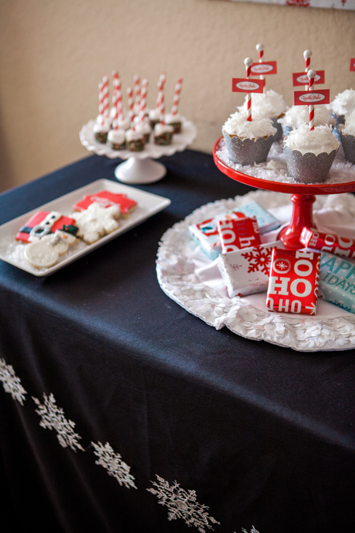 candy cane lane christmas party dessert table