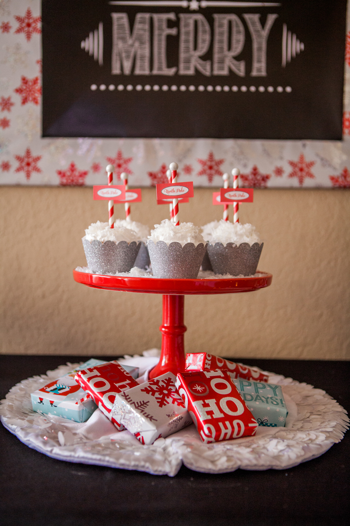 candy cane lane christmas party snowball cupcakes stand with snow