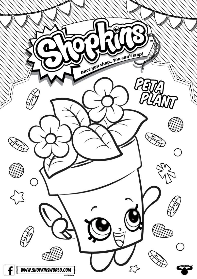 Shopkins coloring pages petkins - Shopkins Coloring Pages Season 4 Peta Plant