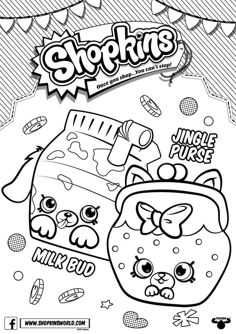 Shopkins Coloring Pages Season 4 Petkins Jingle Purse Milk
