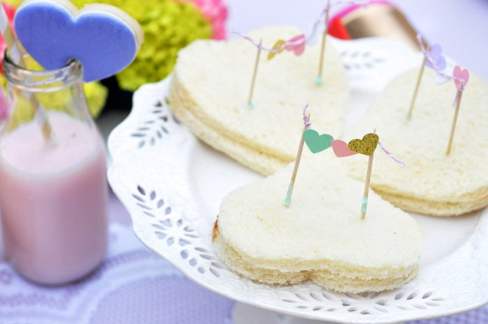Valentines Day Garden Party heart sandwiches with mini flags