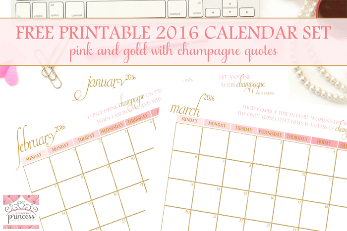 made by a princess free printable calendar 2016