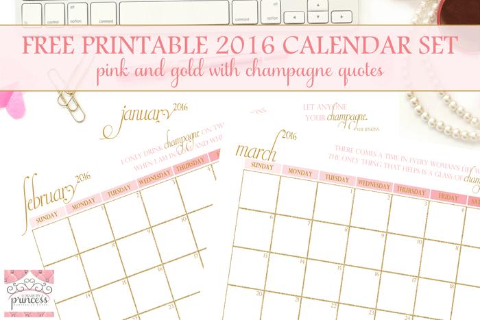 made by a princess free printable calendar 2016
