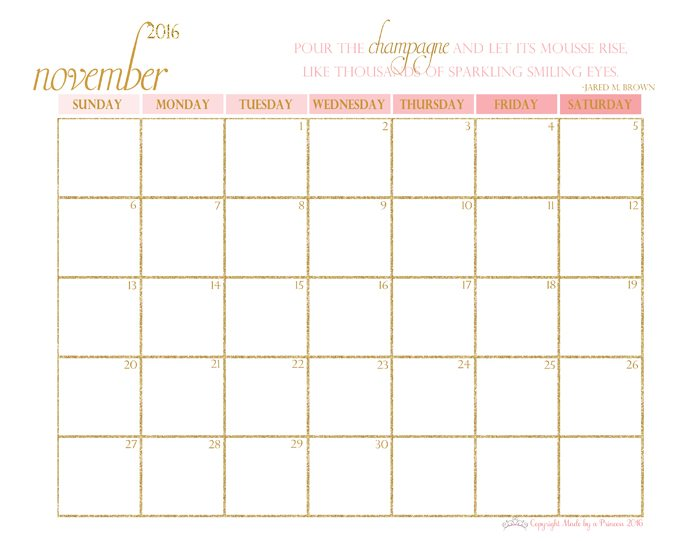 made by a princess free printable calendar 2016 november