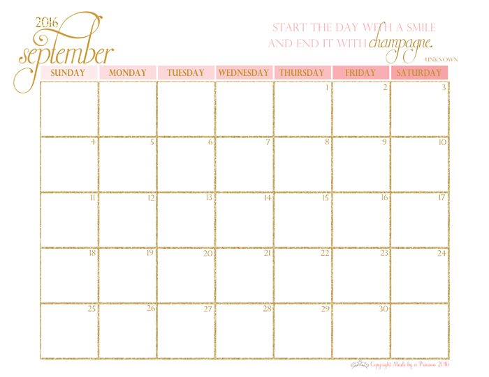 made by a princess free printable calendar 2016 september