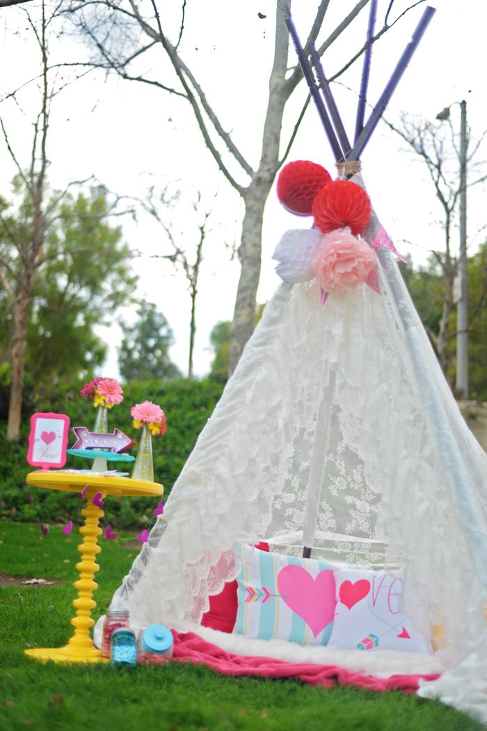 Creative Kids Valentine Party Ideas teepee set up