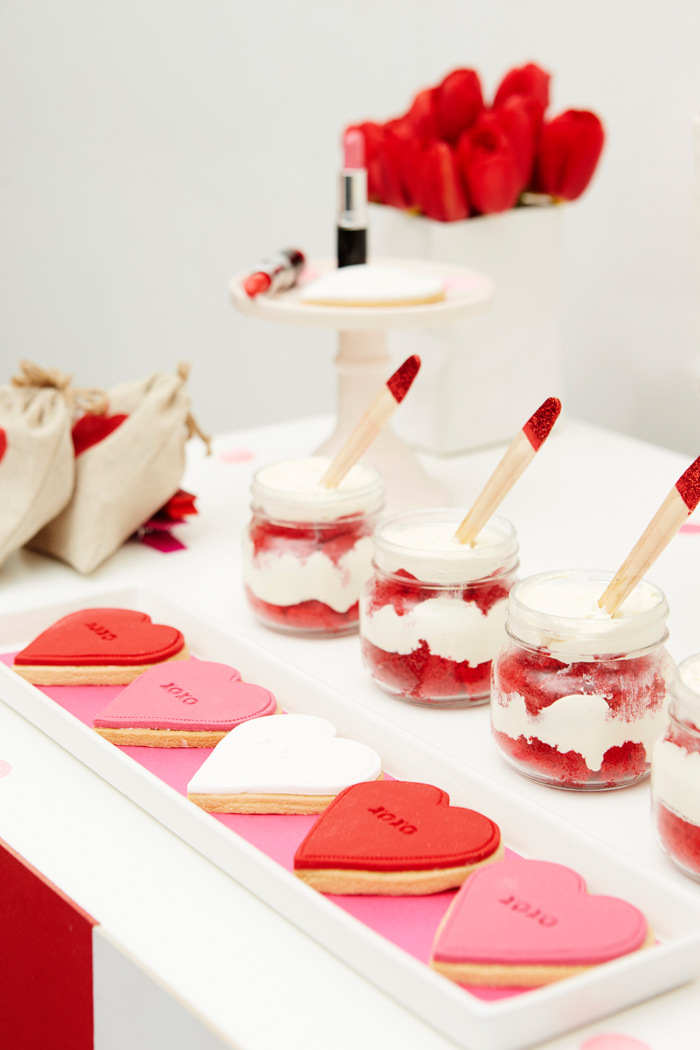 Kissing Booth Valentines Day Party cookies and jar cake