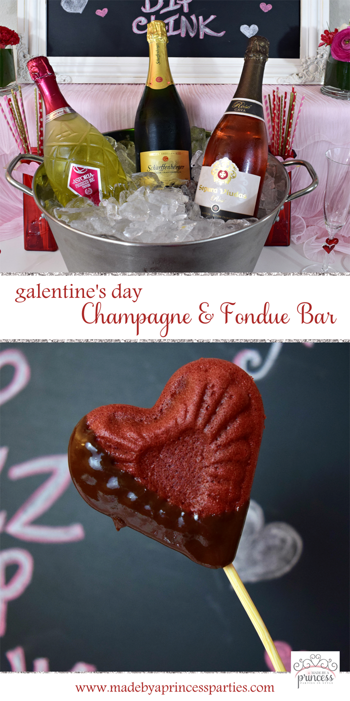 galentines day champagne fondue bar pin it