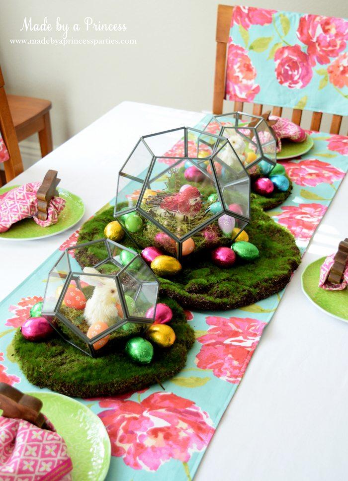 Easy Easter Entertaining Ideas table with terrarium trio