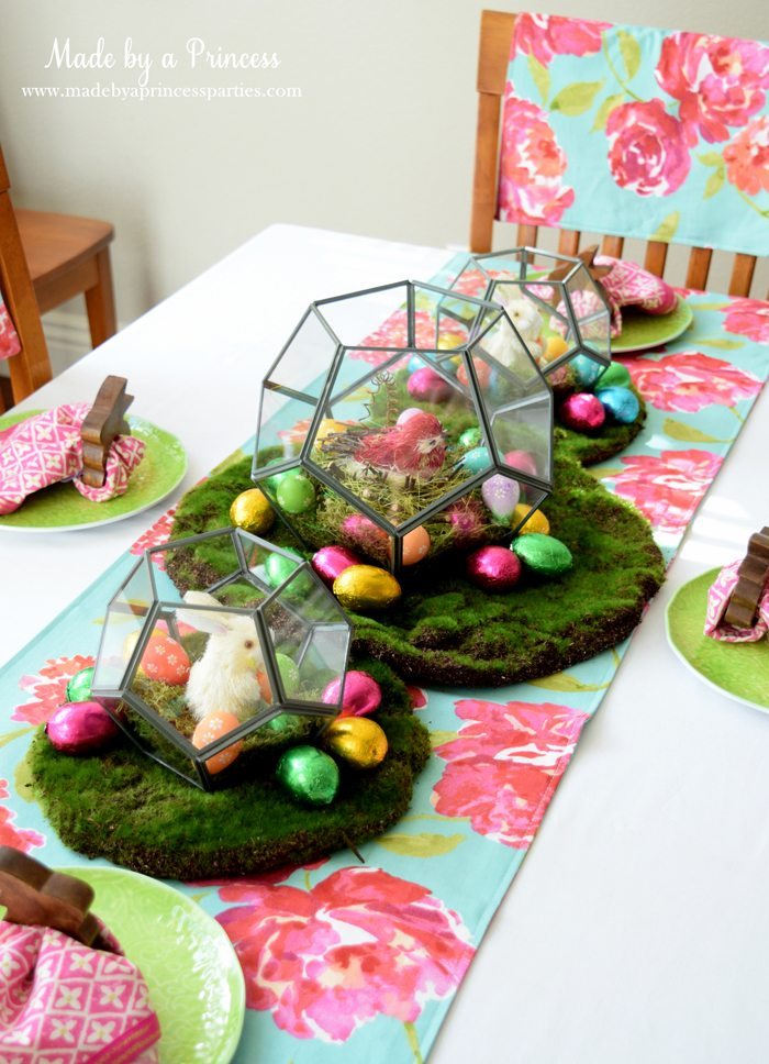 Easy Easter Entertaining Ideas table with terrarium trio