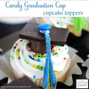 Candy Graduation Cap Cupcake Toppers