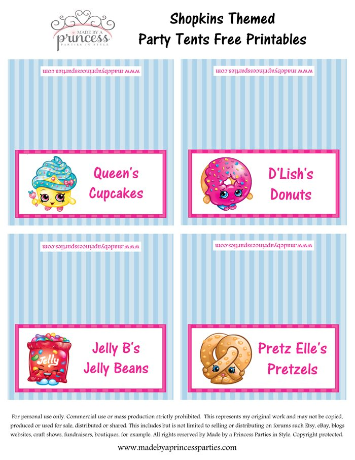 Shopkins Inspired Food Tents FREE Printables Set 1 Made by a Princess