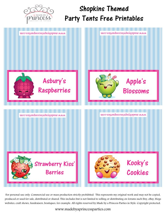 Shopkins Inspired Food Tents FREE Printables Set 7 Made By A Princess