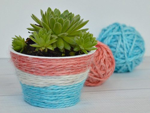 wayfair Housewarming party outdoor party spaces Patriotic Kool Aid Dyed Yarn DIY Plant Pot