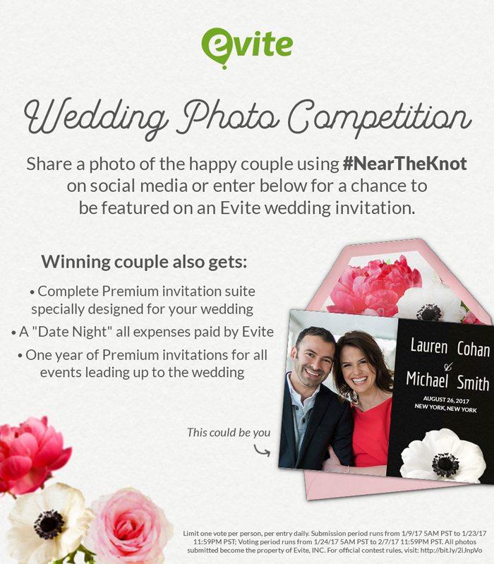 Evites #NeartheKnot Engaged Couple Photo Contest