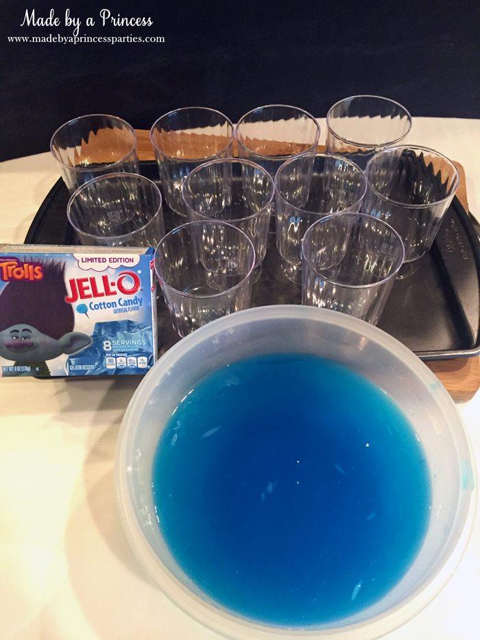 Unicorn Party Rainbow Jello Recipe cotton candy blue layer