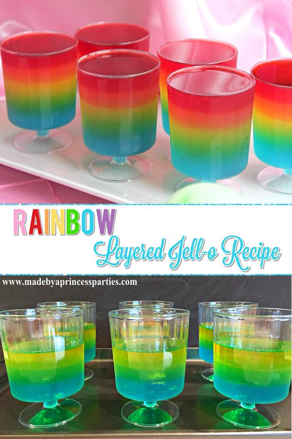 Unicorn Party Rainbow Jello Recipe you can totally do! #rainbowparty #trollsparty #unicornparty #partyfood #layeredjello #jellorecipe #rainbowjello @madebyaprincess