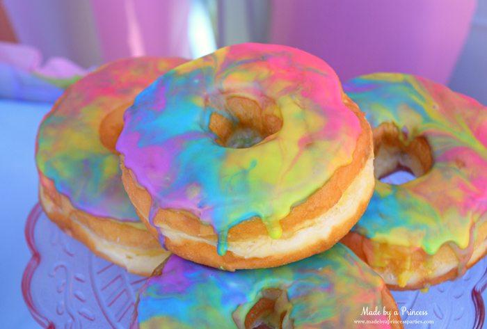 Marbled Rainbow Donuts Party Food Tutorial beautful marbled swirls of sugar glaze 2