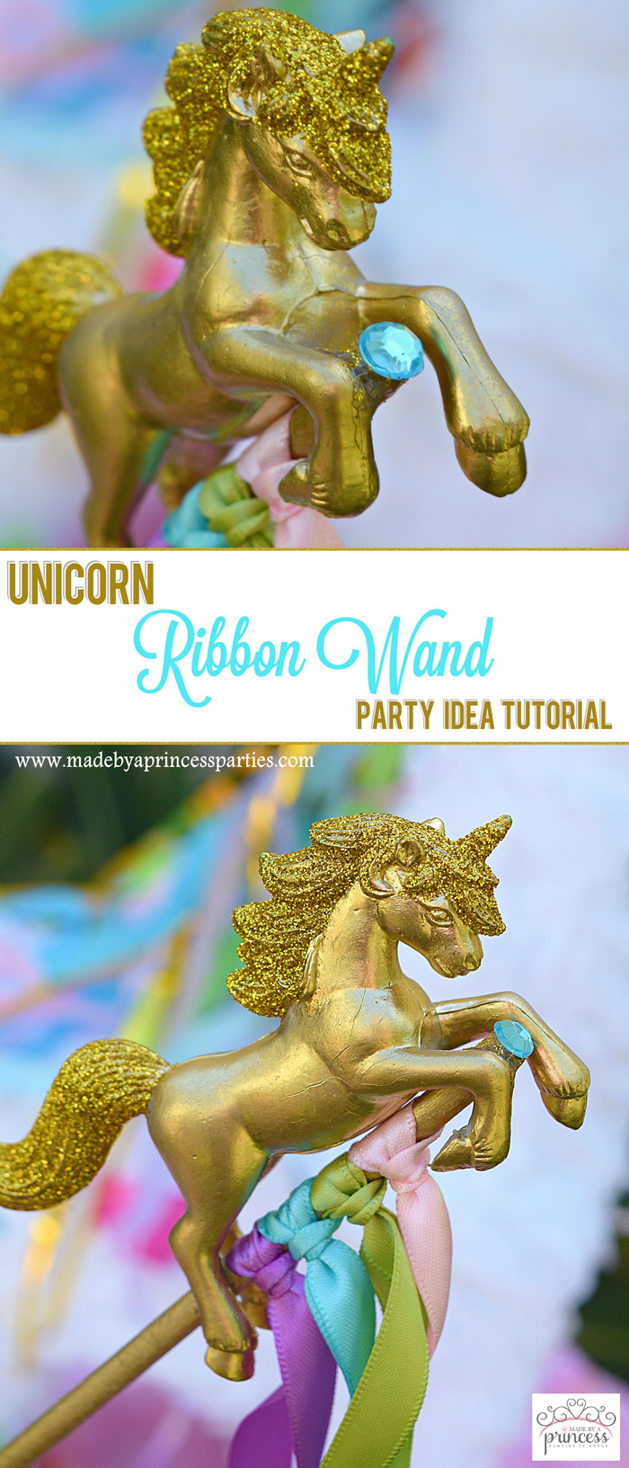 Unicorn Ribbon Wand Party Idea Tutorial pin it