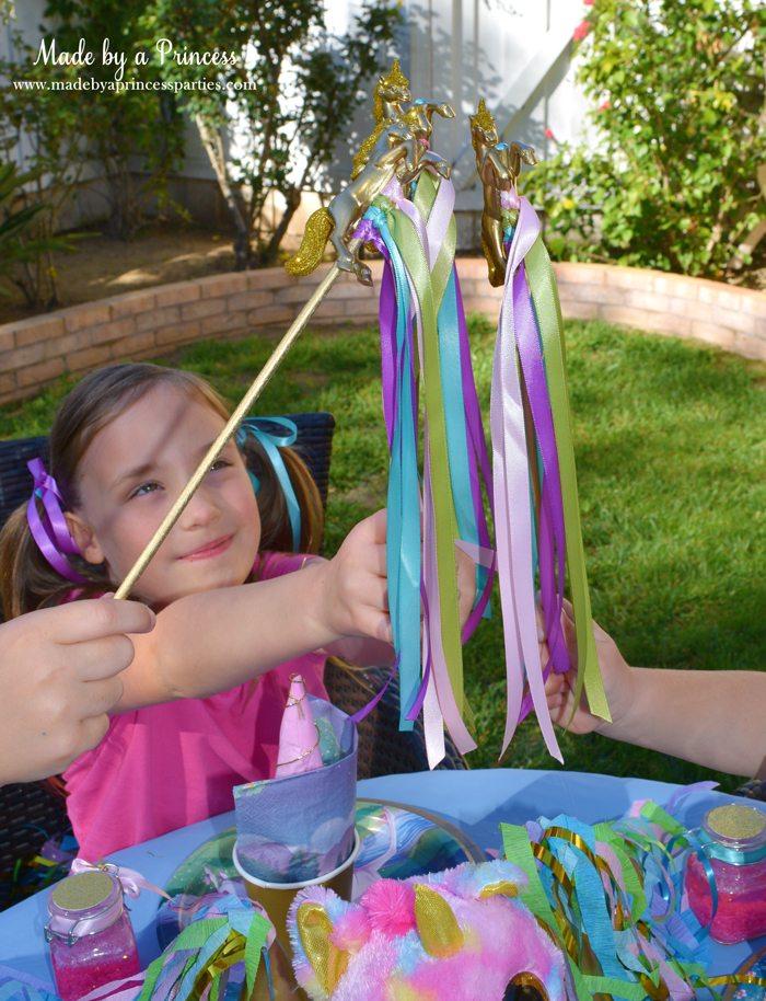 Unicorn Ribbon Wand Party Idea Tutorial wands up