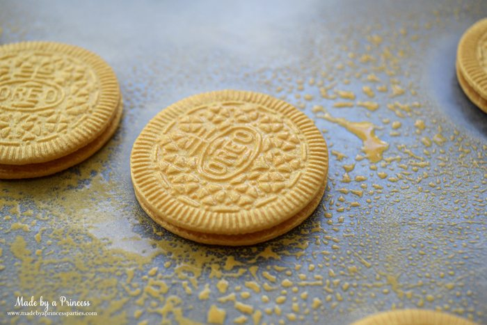 Gold Covered OREO Cookies Party Food Idea color mist cookies that shimmer