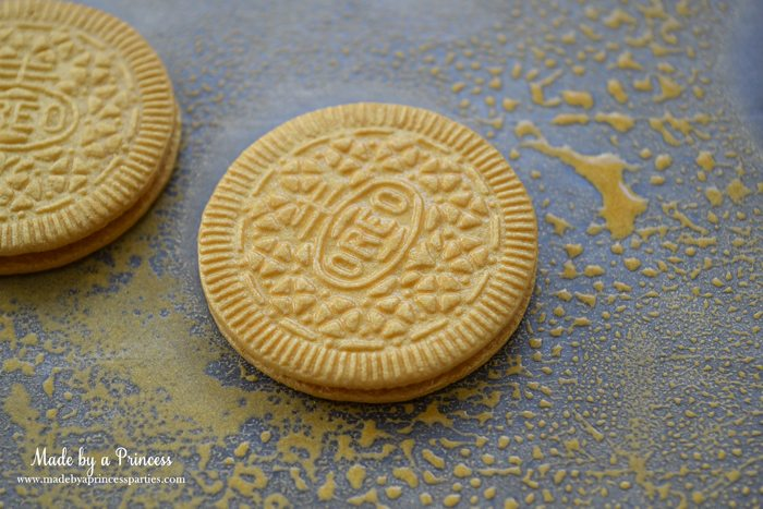 Gold Covered OREO Cookies Party Food Idea color mist cookies