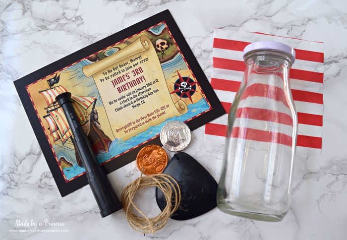 Pirate Bottle Invitations Party Idea supplies invite glass bottle gum coins twine eye patch scope