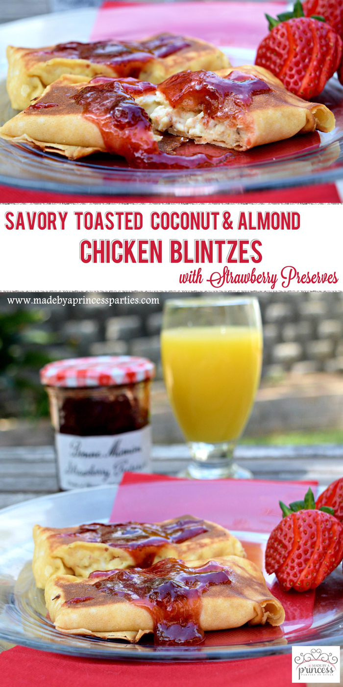 Savory Strawberry Preserves Toasted Coconut Almond Chicken Blintz Recipe pin it