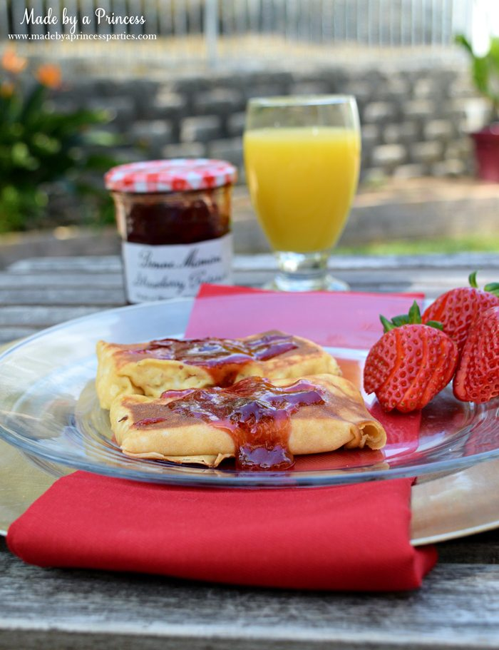 Savory Strawberry Preserves Toasted Coconut Almond Chicken Blintz Recipe served with fresh strawberries