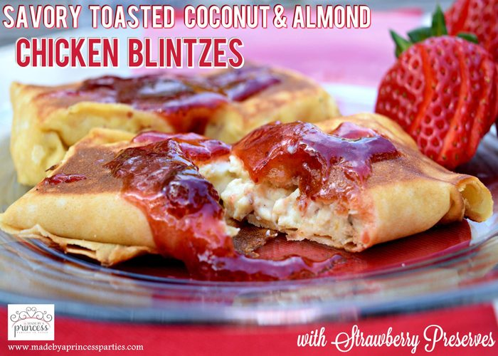 Savory Strawberry Preserves Toasted Coconut Almond Chicken Blintz Recipe
