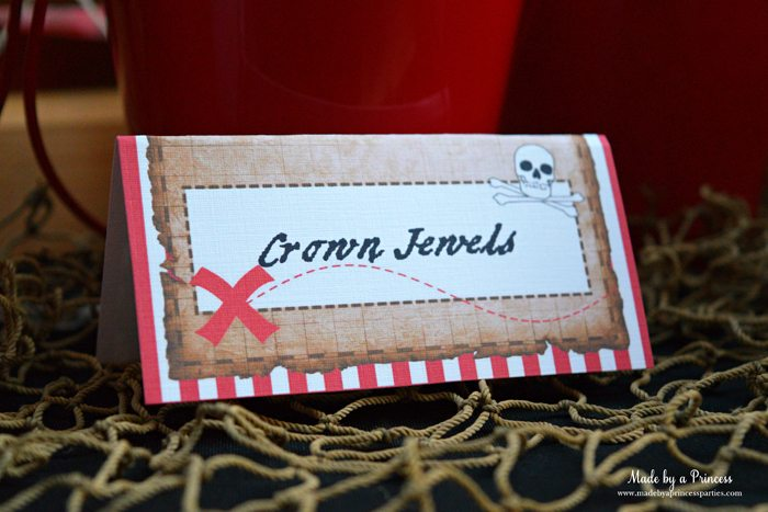 pirate party food free printables crown jewels label
