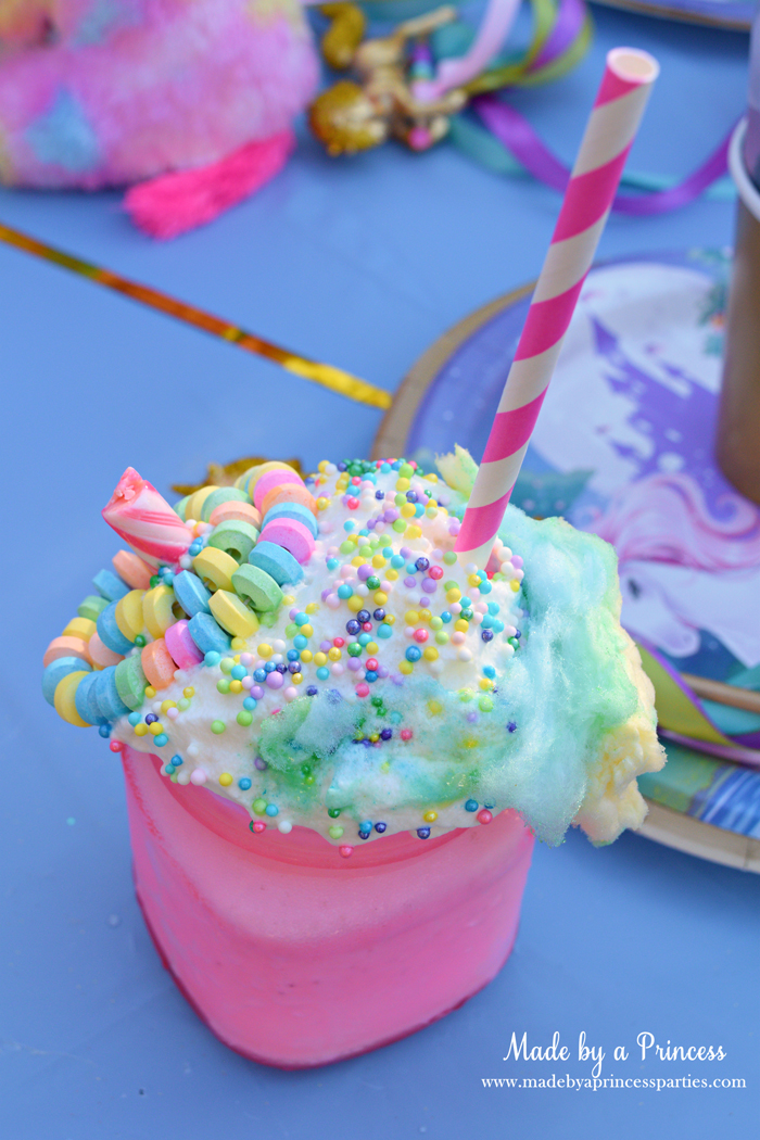 Cotton Candy Unicorn Milkshake Party Food Recipe pink candy stick with candy necklace pink straw