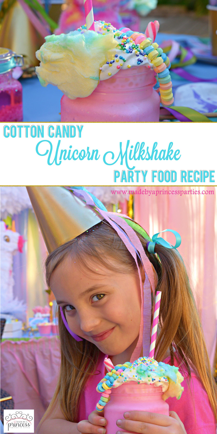 Cotton Candy Unicorn Milkshake Party Food Recipe pin it