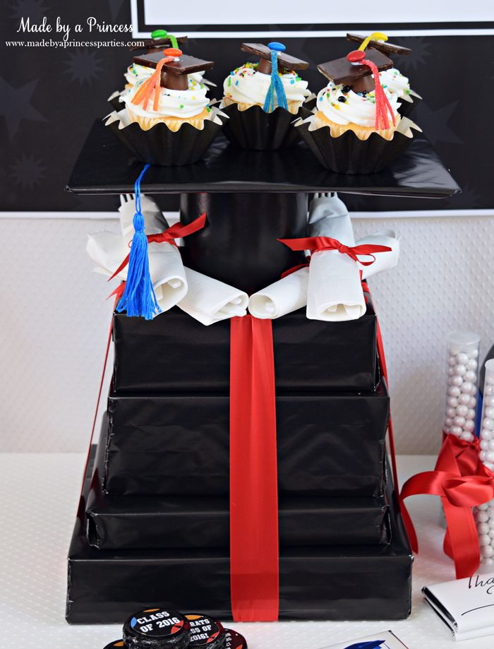 Easy Graduation Party Ideas graduation candy cap cupcake tower wm
