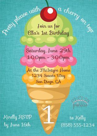 First Birthday Ice Cream Party Ideas invite 2