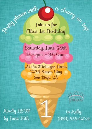 First Birthday Ice Cream Party Ideas invite 2