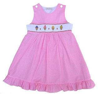 First Birthday Ice Cream Party Ideas smocked pink dress
