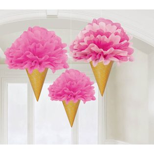 First Birthday Ice Cream Party Ideas tissue fluffies