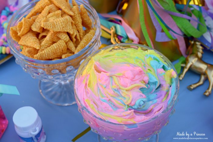 Unicorn Party Rainbow Marshmallow Cream Cheese Fruit Dip Recipe serve with bugles spray painted gold