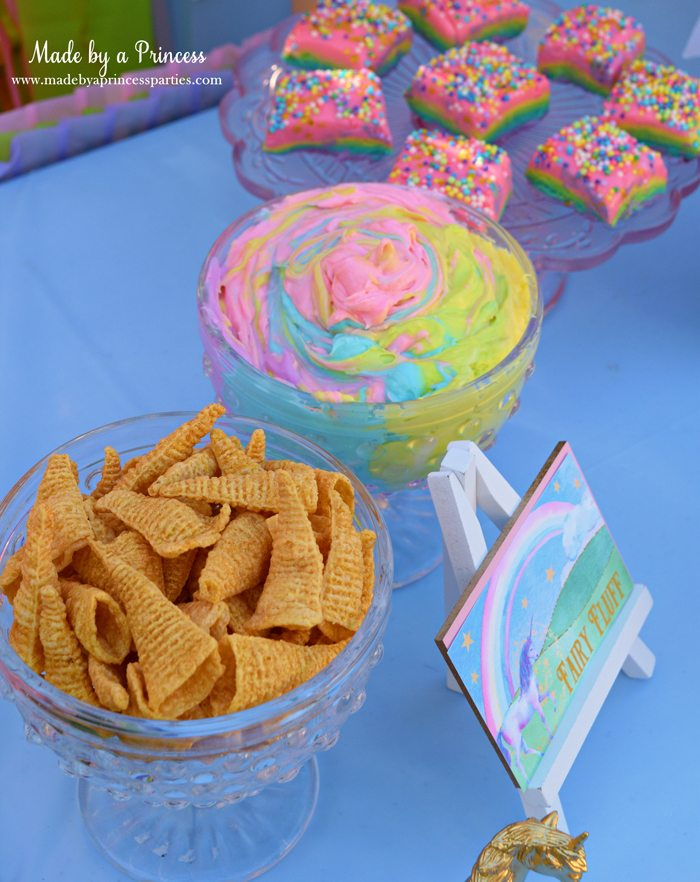 Unicorn Party Rainbow Marshmallow Cream Cheese Fruit Dip Recipe use edible spray paint to make bugles gold
