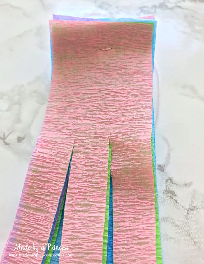 unicorn tail party idea tutorial cut crepe paper leave at least 2 in uncut at the top