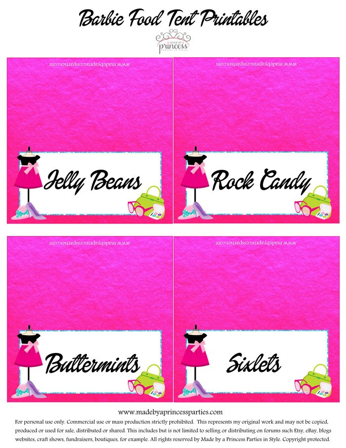 Fashionista Barbie Party Ideas Free Food Printables - Made by a Princess #barbie #barbieparty #foodtents