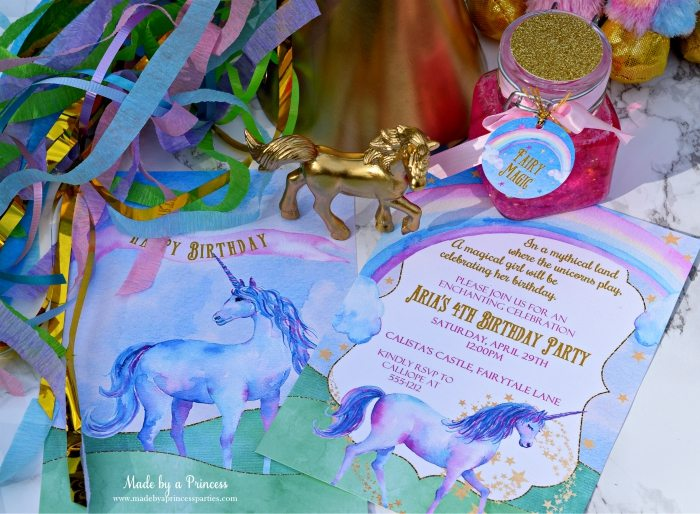 Unicorn Party Ideas Invitation - Made by a Princess #unicorn #unicornparty