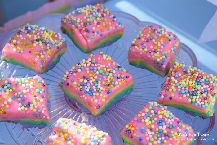 Unicorn Party Ideas Rainbow Fudge - Made by a Princess #unicorn #unicornparty