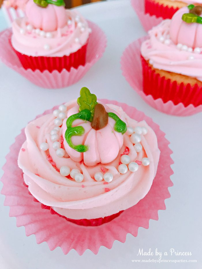 Pink Pumpkin Halloween Party Ideas pink cupcakes 2 Made by a Princess #pinkparty #pinkoween #pinkpumpkinparty