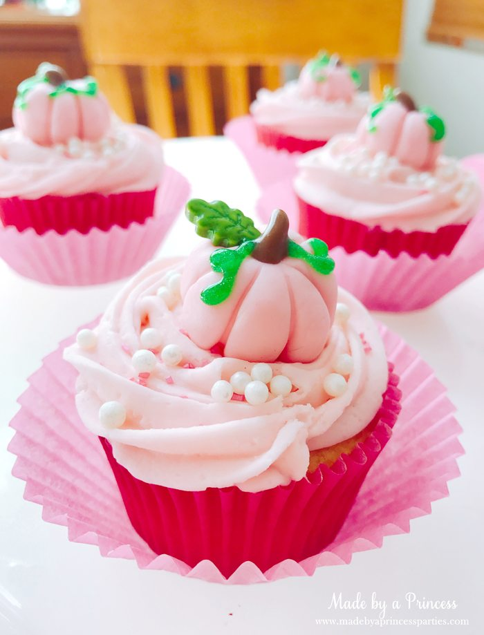 Pink Pumpkin Halloween Party Ideas pink cupcakes Made by a Princess #pinkparty #pinkoween #pinkpumpkinparty