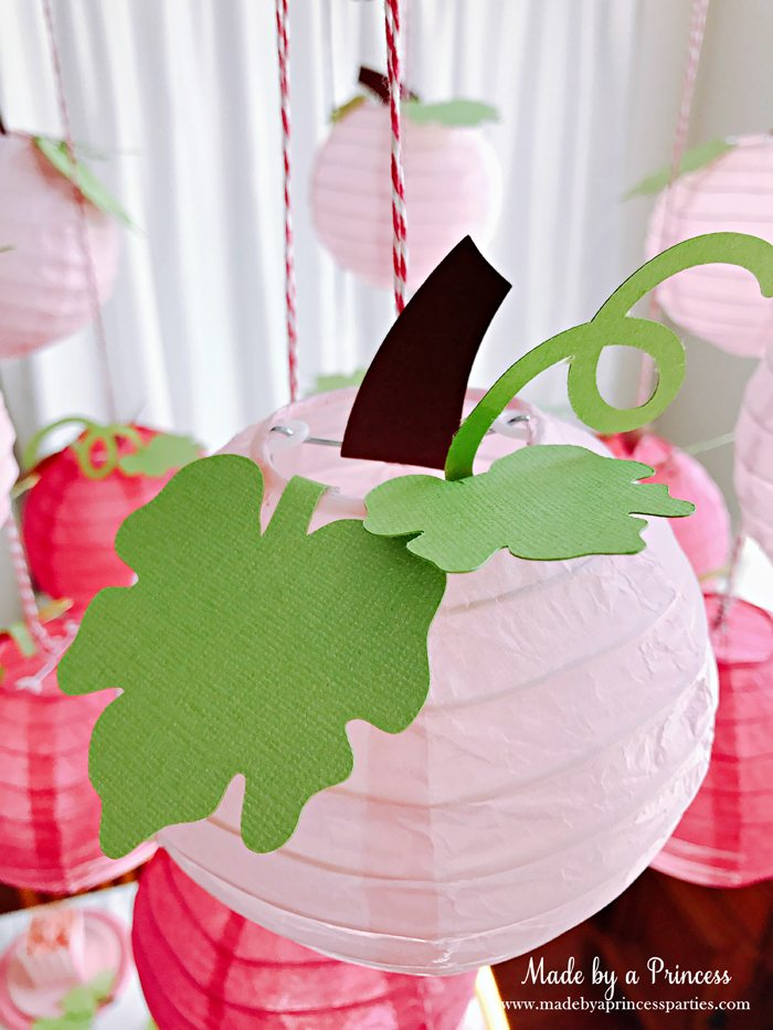 Pink Pumpkin Halloween Party Ideas pink paper lanterns turned to pumpkins Made by a Princess #pinkparty #pinkoween #pinkpumpkinparty