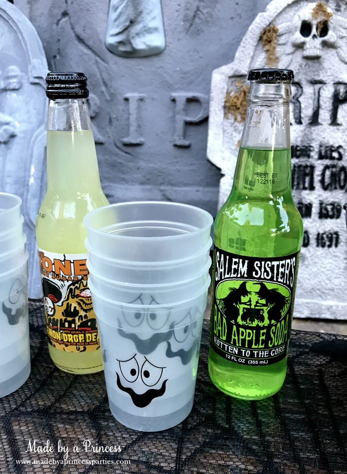 Teen Halloween Party Ideas glow in the dark cups Made by a Princess #halloweenparty #teenhalloween